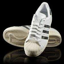 new ADIDAS Originals SUPERSTAR 80's shoes men's 10 white & snake print sneakers