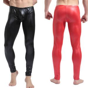 Mens Long Pants Trousers Faux Leather Dance Clubwear Wet Look Leggings Underwear