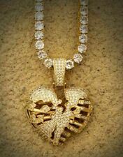 "Men's 8 Ct Round Sim Diamond Skeleton Broken Heart 4mm 18"" tennis Chain Pendant"