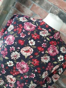 F&F NAVY PINK FLORAL HIGH NECK LONG SLEEVE A-LINE DRESS SIZE 12 14