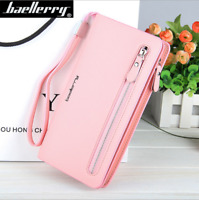 Women's Leather High Capacity Clutch Wallet Credit Card ID Holder Long Purse