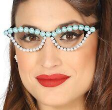 MUJER AÑOS 50 AÑOS 50 Vintage Perla Azul Blanco Gafas Accesorio para disfraz