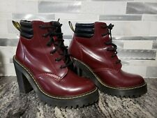 Dr. Martens PERSEPHONE Cherry Smooth Leather Lace Up Heeled Boots Women's Size 7