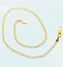 "Diamond Cut Mariner 10"" Bracelet/Anklet 10K Yellow Gold 1.5mm Pave"