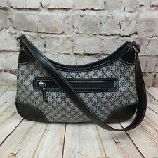 Liz claiborne villager Womens Black Gray Shoulder Canvas Handbag Purse Statchel