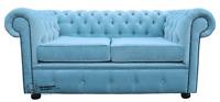 Chesterfield Original 2 Seater Velluto Duck Egg Blue Fabric Sofa Settee