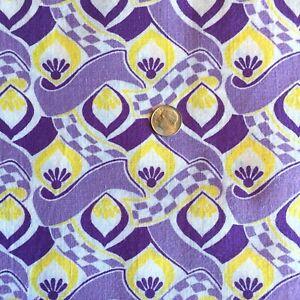 "Vintage Partial Feed Sack Beautiful Yellow & Purple Geo Design  20"" x 18"""