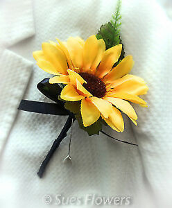 SUNFLOWER BUTTONHOLES NAVY BLUE RIBBON