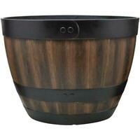 16/20 In. Resin Barrel Planter Indoor Outdoor Large Flower Pot Garden Decor