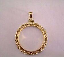 Coin Bezel U.S.QUARTER Rope Edge 14K Gold Filled Frame Soldered Bail NEW