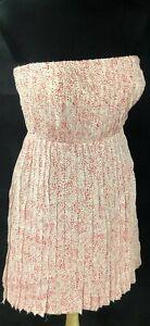 Ann Taylor Loft 4P Pink White  Dress Pleated Strapless