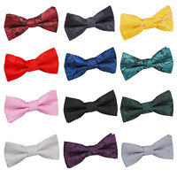 DQT Woven Floral Paisley Communion Wedding Classic Page Boys Pre-Tied Bow Tie