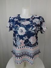 Style & Co Plus Size Floral Print Studded Top 3X Navy-Pink Floral #6624