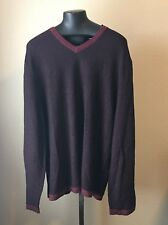 MENS INC  MADEIRA STRIPED  V-NECK SWEATER XXL
