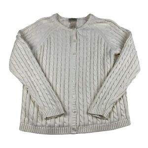 L.L. Bean Cableknit Cardigan Womens Large Cream Button Up Sweater