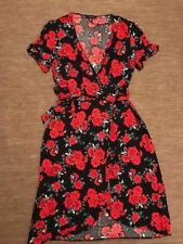 SIZE 14 18 BLACK RED ROSE FLORAL PRINT WRAP MIDI PARTY DRESS US 10 - 14 EU 42 44