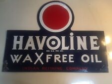 Original Indian Havoline Wax Free Oil & Gas Porcelain Steel Texaco 46.5x36 Sign