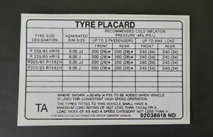 Tyre Placard - VN SS and Calais - 92038618ND Holden Decal, Sticker