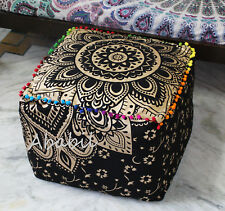 """22"""" New Indian Cotton Square Pouf Cover Black Golden Ottoman Foot Stool Covers"""