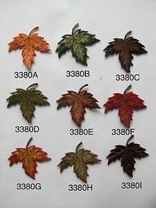 #3380 Maple Leaf Fall Autumn Embroidery Iron On Applique Patch