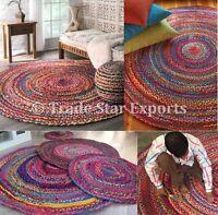 "Indian Round Braided Floor Rug 28"" Handmade Cotton Rug Boho Reversible Floor Mat"