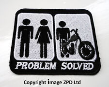P3 Problem Solved.Iron on Patch.Funny Humour Laugh Joke Biker Motorcycle Couple