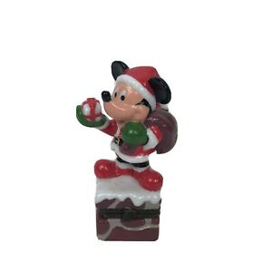 Disney Christmas Mickey Mouse Santa Chimney Trinket Box