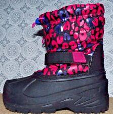 Little Girls Size 10 Athletech Rue Pink Black Leopard Print Lined Winter Boots