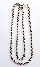 Magnifique collier Agatha métal argenté/cordon noir. Grande longueur 105cm.AV15
