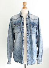 Acid Wash Retro Denim Shirt Ripped Blue Buttons Mens Womens Unisex Slim Size XS