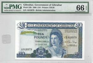 Gibraltar 1986 10 Pounds P22b PMG 66 EPQ - Monster Example of this Scarce Note