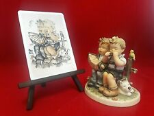 "Hummel ""Tuning Up"" Porcelain Figurine with Matching Ceramic Postcard on Plinth"