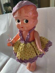 "Antique Vintage 1920's Celluloid 81/2"" Crochet dress Japan Kewpie Flapper Doll"