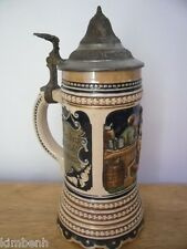 Thorens Music Box Pottery and Pewter Lidded Stein from Switzerland