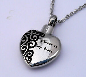 """Cremation Ashes Jewellery Keepsake Necklace Urn """"Always in my heart"""""""