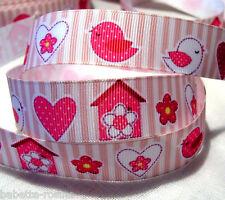 RUBAN GROS GRAIN ** 22 mm ** OISEAUX Coeur Maison Fleur Rayure Rose / 1 mètre