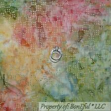 BonEful FABRIC FQ Cotton Quilt Rainbow Natural Water Color BATIK Dot Tone Green
