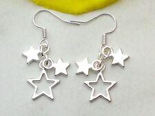 Ohrringe *STERN 925er Silber Ohrhaken *Ohrhänger mit 3 Sternen Star Sternchen