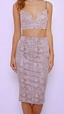 BNWT MISSI LONDON@LIPSY GREY/PINK SNAKE PRINT PENCIL SKIRT & CROP TOP SIZE 10