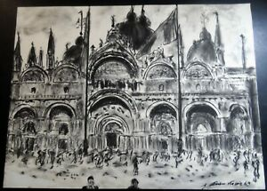 ORIGINAL SKETCH DRAWING OF CATHEDRAL ARTIST SIGNED