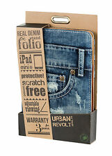 NEW TRUST 19193 BLUE DENIM JEANS FOLIO & STAND FOR IPAD MINI, WITH REAL POCKETS