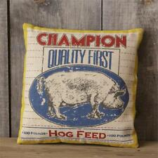 "Primitive Rustic Country Champion Hog Feed 16"" x 16"" Advertising Pillow New"