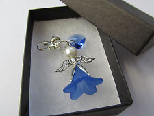 Wedding Gift Bride Something Blue Swarovski Elements Heart Guardian Angel Charm