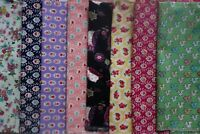 Job Lot Bundle 8 Rose & Hubble Quilting Cotton Fabrics Floral Owls Squirrel FQs