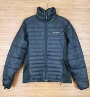 Columbia Womens Quilted Jacket sz M Black Light Weight Puffer Fleece Side Panels