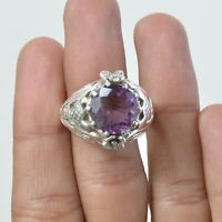 Amethyst Solitaire Ring Size 9 925 Solid Sterling Silver Handmade Jewelry