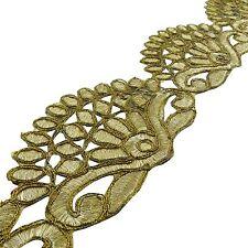 Decorative Gold Trim 7.62 Cm Wide Border Cut-Work Sari Craft Material By 1 Yard