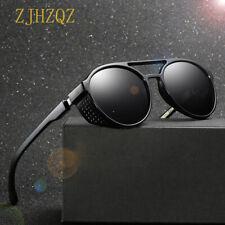 Mens Vintage Openwork Steampunk Polarized Sunglasses Round Retro Pilot Eyewears