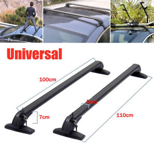 2PCS Universal Car Roof Rail Luggage Rack Baggage Carrier Anti-theft Aluminum