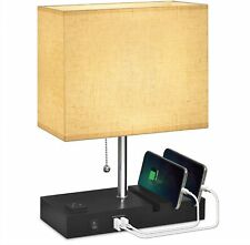 USB Bedside Lamp With Phone Stands,Hansang Table Lamp Dual Charging Ports